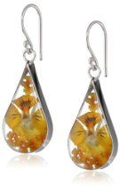 Sterling Silver Orange Pressed Flower Teardrop Earrings