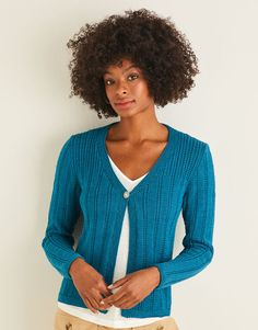 Sirdar 10111 Neat Textured Cardigan knitted in DK/#3 weight yarn. For adults Wardrobe Staples, Knit Cardigan, Knit Crochet, Summer Dresses, Lady, Tees, Modern, Cotton, Crochet Patterns