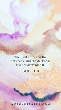 The light shines in the darkness, and the darkness has not overcome it. John 1:5 Hand painted watercolor art inspired by Scripture. Christian gift to give a friend, Christian gift for mom, Christian gift for a sister, watercolor art with gold leafing, Scripture inspired art, Christian art, Bible Verse art, Christian home decor #MercyCreates #LightandLife #Christianart #christiangift #watercolorart #goldleaf Christian Gifts, Christian Art, John 1 5, Encouraging Verses, Bible Verse Art, Light Of Life, Try It Free, Phone Backgrounds, Darkness