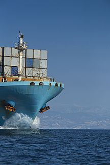 Spain, Andalusia, Tarifa, Container ship