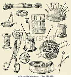Vector Sewing Equipment - 102579638 : Shutterstock