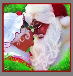 MR. & MRS. CLAUS Painting -Canvas Print or Print for frame -various sizes, Christmas Decor, Santa Claus-Holiday- Xmas Art by Chadsart on Etsy