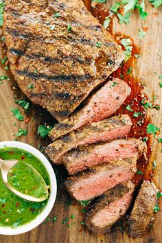 Grilled Flat Iron Steak with Chimichurri Sauce - This recipe is the ...
