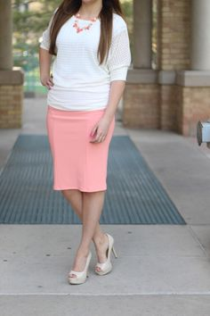 Coral Pink Pencil Skirt and Textured Top | Modest Style Blog | Modest Style
