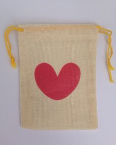 12 x  Printed Love Heart Mini Cotton Muslin Gift Favour Bags - approximately 2.75x4 inches (7x10 cm)
