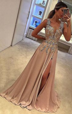 A-line V-neck Satin Brown Sweep Train Appliques Lace with Slit Sleeveless Prom Dresses PH691 #brown #lace #slit #appliques #beads #promdress #partydress #vneck #satin #elegant