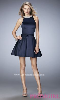 Short Fit and Flare La Femme Prom Dress LF-22212
