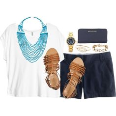 navy chinos for Summer by classycathleen on Polyvore featuring H&M, J.Crew, Michael Kors, Devon Leigh and Kate Spade