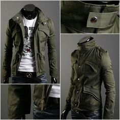 Military Style Men's Slim Fit Stand Collar Jacket Coat Zip Button Hoody Overcoat, my man would look gooooood in this