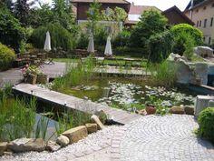 Garden Bridge, Outdoor Structures, Lawn, Flowers