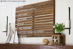 wood pallets as artwork-diy  'If you find an already-gorgeous wood pallet, all it needs is a quick sand and a painted quote to add interest to a large wall space.'