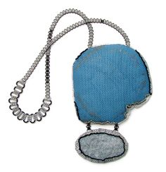 Dana Hakim Neckpiece: My Four Guardian Angels - the blue series, 2012 Iron Nets, Reflective Light Threads, Cotton Threads, Paint, Lacquer 47...