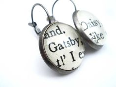 Great Gatsby, Book Earrings, Silver, Gatsby Daisy, Classic Novels, Literary, American Literature, Small, Round