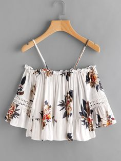 SheIn offers Flounce Hem Open Shoulder Florals Top & more to fit your fashionable needs. Source by gnelsontaken clothing shop Teen Fashion, Fashion Outfits, Womens Fashion, Fashion Trends, Fashion Black, Fashion Fashion, Fashion Ideas, Crop Top Shirts, Shirt Blouses