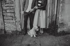 Guy and a girl doing photos with their dog at Muckross House