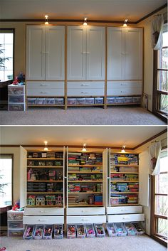 Play room cabinets. Make deep enough to board games and whatnot. Love that the clutter is organized and hidden!