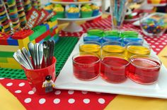 Jello and other fun ideas at a Lego Party #lego #partyfood
