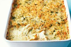 Chicken with a crunchy Cheddar crust - Woman And Home Easy Baked Chicken, Yummy Chicken Recipes, Yummy Food, Tasty, Creamy Chicken, Chicken And Leek Pie, Gratin Dish, Popular Recipes, Main Meals