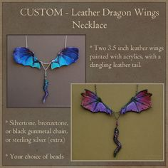 CUSTOM Leather Dragon Wings Necklace with Dangling Tail - Fantasy Pendant by windfalcon on Etsy https://www.etsy.com/listing/196662156/custom-leather-dragon-wings-necklace