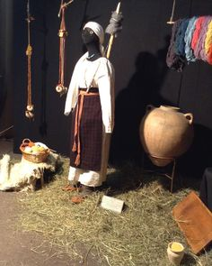 The lifestyle and crafts of people in Kyiv region, Ukraine (Kievan Rus'). The 10th century. Reconstruction. The yarn at the photo is hand spun and dyed with natural organic colorings