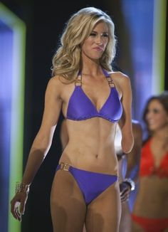 Miss Iowa Nicole Kelly competes in the lifestyle and fitness portion of the preliminary round. Kelly is the first contender with one arm.