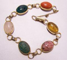 Vintage 7 Scarab Bracelet With Tigers Eye By Gretelstreasures 32 00 Gems And