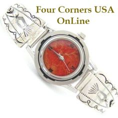 Four Corners USA Online - Women's Stamped Sterling Watch Apple Coral Face Native American Silver Jewelry, $109.00 (http://stores.fourcornersusaonline.com/womens-stamped-sterling-watch-apple-coral-face-native-american-silver-jewelry/)