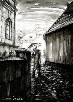 Vladimir Zimakov - Prague Prague, Photo Art, Rain, Illustrations, Abstract, Drawings, Artwork, Photos, Rain Fall