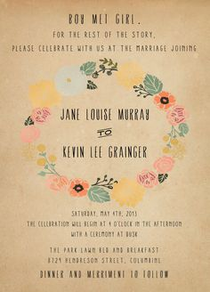 Rustic Wedding Invitation Suite  Vintage Floral by inoroutmedia, $55.00