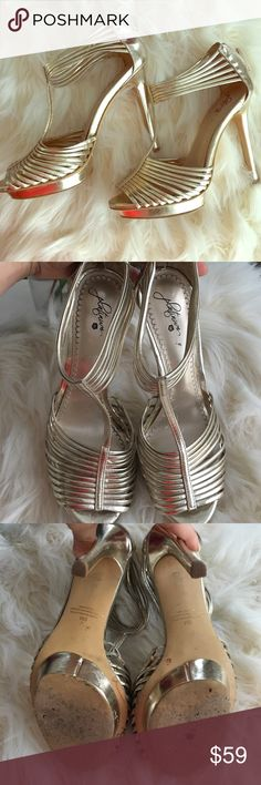 Metallic Heels from Nordstrom Talk about glam...these stilettos are sure to dress up any outfit.  These heels adorn summer day looks, while are also versatile enough to be worn with an evening cocktail dress. **Condition: lightly worn a handful of times. Shoes Heels
