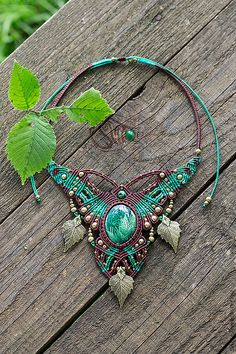 Necklace with etched malachite by Svitoe