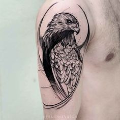 Hawk Tattoo on Shoulder shoulder tattoo hawk Eagle Shoulder Tattoo, Cool Shoulder Tattoos, Mens Shoulder Tattoo, Eagle Tattoos, Feather Tattoos, Body Art Tattoos, Sleeve Tattoos, Turtle Tattoos, Tattoo Bird