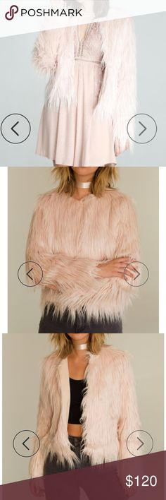 NWT Light pink faux fur mink coat THIS PIECE IS 100% POLY!! NEW WITH TAGS. bought for $165 - great quality - no low ballers   FAUX FUR, OPEN JACKET  HAND WASH COLD, LAY FLAT TO DRY  MODEL IS WEARING A SIZE SMALL Jackets & Coats