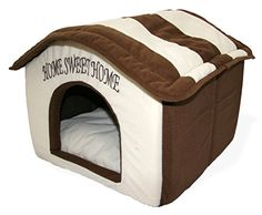 Best Pet Supplies Home Sweet Home Bed Beige with Brown Strips *** Check out the image by visiting the link.(This is an Amazon affiliate link and I receive a commission for the sales) #DogBeds