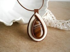 Agate Leather Pendant Stone Necklace Brown Ivory by NataliStudio