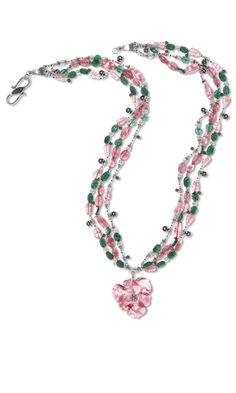 "Triple-Strand Necklace with Cherry ""Quartz"" Glass Beads and Green Aventurine Gemstone Beads"