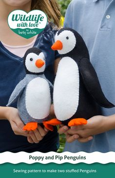 Poppy and Pip stuffed felt penguin PDF pattern from Wildlife with Love by Betz White