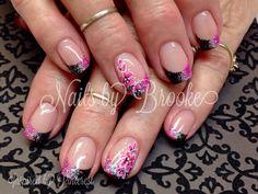 Pink black silver flowers