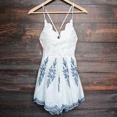 white + navy embroidery crochet open back romper