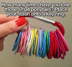 I do this with my husband and I's hair ties.. makes it super easy to put them away and keeps them all together. I do the same with all the sets of keys from our vehicles. ( makes it east to grab which set you want )