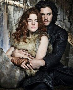 Kit Harington as Jon Snow of House Stark and Rose Leslie stas as Ygritte the Wildling in Game of Thrones (2011-19)