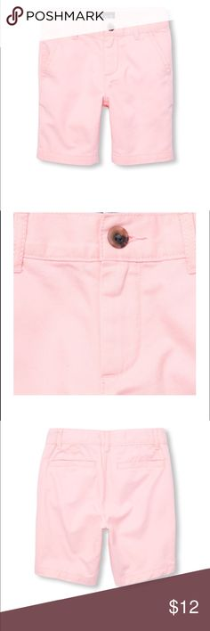 Boys Solid Woven Shorts A ready-to-dress-up (or down!) short for all occasions. Made of 100% cotton twill; peached for a fuzzy feel Button closure with zipper fly Slant pockets at sides; back welt pockets Inner adjustable waist tabs for a custom fit Pre-washed for an extra-gentle feel and to reduce shrinkage Color Pink The Children's Place Bottoms Shorts