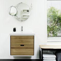 Badmøbel i neutral eg med vask i Solid Surface Finger Joint, Solid Surface, Danish Design, Bathroom Furniture, Carpentry, Drawers, Neutral, Wood, Inspiration