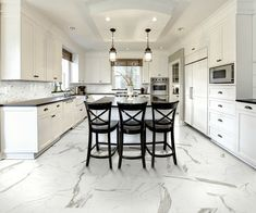 What is Glazed Porcelain Tiles?Glazed Porcelain Tiles, also known as vitrified tiles is one of the two most popular body for floor tiles, other being the ceramic body. Kitchen Flooring, Kitchen Backsplash, Marble Floor Kitchen, Tile Flooring, Kitchen Paint, Room Kitchen, Kitchen Dining, Dining Room, Marble Look Tile