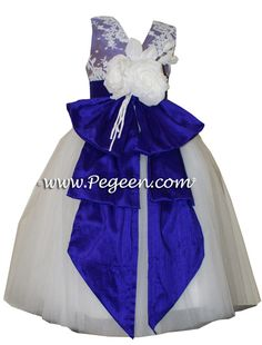 Antique white and Majestic Purple ballerina style Flower Girl Dresses with layers and layers of tulle by Pegeen.com in over 200+ colors of silk, with or without sleeves, infants through plus size