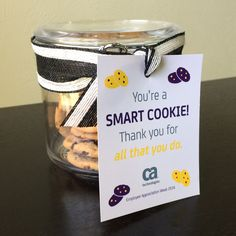 """You're a SMART COOKIE! Thank you for all that you do."" cookie jar 