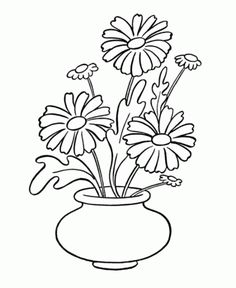 Flowers Coloring pages. Printable Flower Coloring Pages.These printable flower coloring pages are free. Coloring pictures and sheets of f. Printable Flower Coloring Pages, Coloring Pages To Print, Coloring Pages For Kids, Flower Coloring Sheets, Kids Coloring, Simple Flowers, Colorful Flowers, Flower Vases, Flower Pots