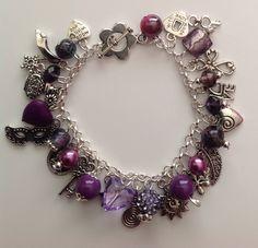 Pretty purple and silver charm bracelet.