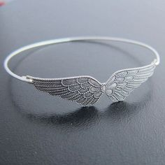 Double Wing Bracelet Silver Wing Bangle Bracelet by FrostedWillow...pinned by ♥ wootandhammy.com, thoughtful jewelry.