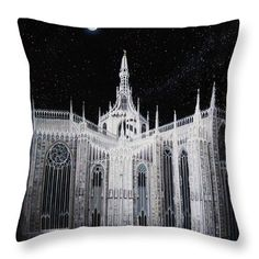 "Milan Cathedral Throw Pillow by Tobias De Haan.  Our throw pillows are made from 100% spun polyester poplin fabric and add a stylish statement to any room.  Pillows are available in sizes from 14"" x 14"" up to 26"" x 26"".  Each pillow is printed on both sides (same image) and includes a concealed zipper and removable insert (if selected) for easy cleaning."